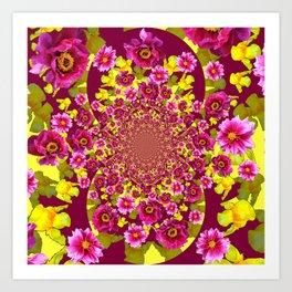MODERN FUCHSIA & YELLOW FLORALS  ART Art Print