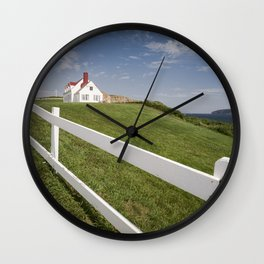 Small white wooden house, in Percé, Gaspésie, Québec, Canada. Wall Clock
