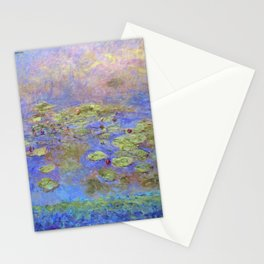 Water Lillies - Claude Monet (indigo blue) Stationery Cards