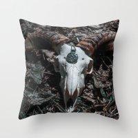 goat Throw Pillows featuring Goat by Sarah Van Neyghem