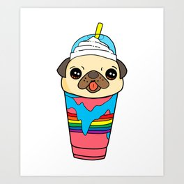 Cute & Funny Pug Puppy Dog In Smoothie Art Print
