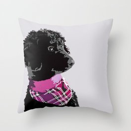 Black Standard Poodle in Grey and Pink Throw Pillow