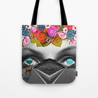 trip Tote Bags featuring Trip by Pame Pinto Rojas