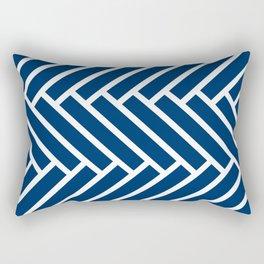 Dark blue and white herringbone pattern Rectangular Pillow