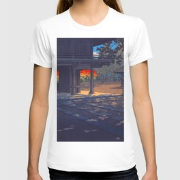 Vintage Japanese Woodblock Print Colorful Fall Trees Shinto Shrine Japanese Architecture T-shirt