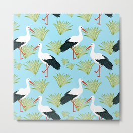 Storks #illustration #pattern #wildlife Metal Print