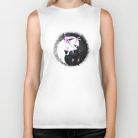 umbreon Biker Tanks featuring YIN YANG ESPEON AND UMBREON by Cursed Rose