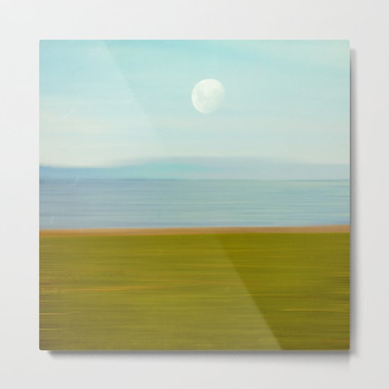 Moon on Beach Metal Print