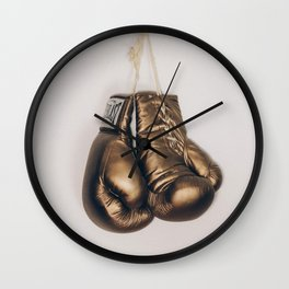 Gold Boxing Gloves Wall Clock