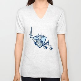 Statue of Liberty Holding Scales Justice Sword Unisex V-Neck