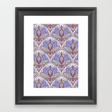 Art Deco Lotus Rising 2 - sage grey & purple pattern Framed Art Print
