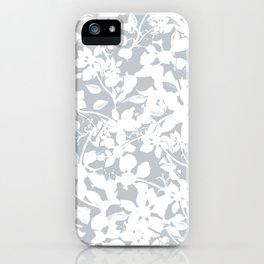 White and Grey Botanical Silhouette Pattern - Broken but Flourishing iPhone Case