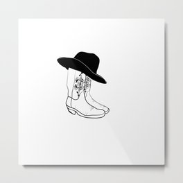 Cowboy boots and hat ,black&white illustration  Metal Print