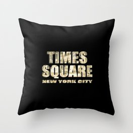 Times Square New York City (golden glow on black) Throw Pillow