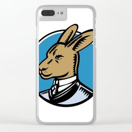 Wallaby Wearing Business Suit Circle Woodcut Color Clear iPhone Case