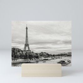 Eiffel Tower and boats on Seine river in Paris, France Mini Art Print