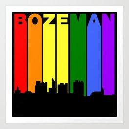 Bozeman Montana Gay Pride Rainbow Skyline Art Print