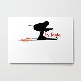Ski speeding at La Tania Metal Print