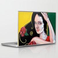 dia de los muertos Laptop & iPad Skins featuring Dia de los Muertos by whiterabbitart