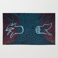 anxiety Area & Throw Rugs featuring Separation Anxiety by Jellywell Art
