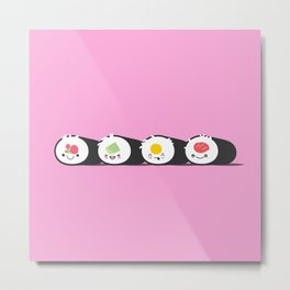 Happy Sushi! - Vector Metal Print