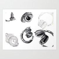 headphones Art Prints featuring Headphones by Ashley Jones