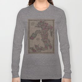 Vintage Map of Italy (1864) Long Sleeve T-shirt