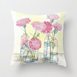Pink Carnations, Still Life Throw Pillow