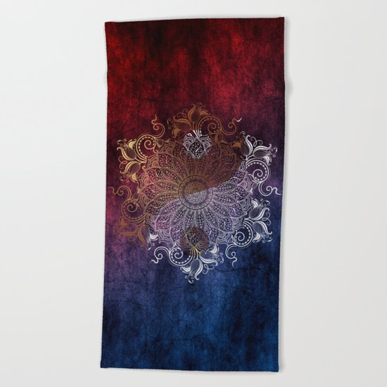 Mandala - Fire & Ice, yang version Beach Towel