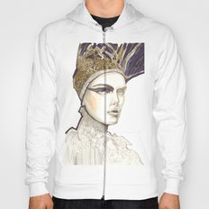 Portrait illustration in golden markers and pencils Hoody