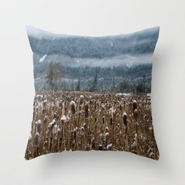 Frozen reeds Throw Pillow