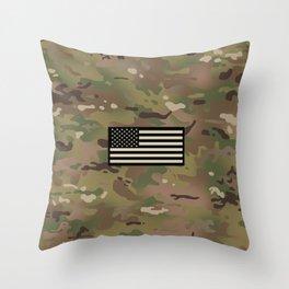 U.S. Flag: Woodland Camouflage Throw Pillow