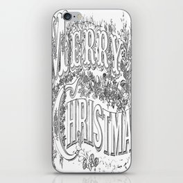 Vintage Merry Christmas Holiday Greeting (Black Text) iPhone Skin