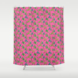kitty kat (green on pink) Shower Curtain