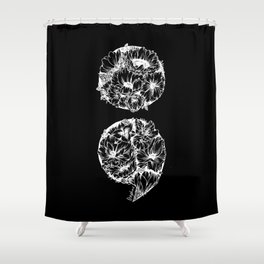 floral semicolon black and white Shower Curtain