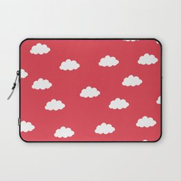 White clouds in red background Laptop Sleeve