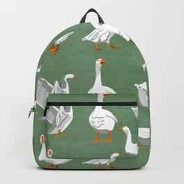 Gaggle of Geese on Green Backpack