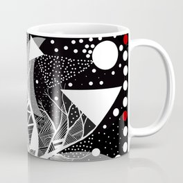 black and white abstract with touch of red Coffee Mug