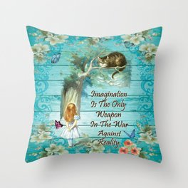 Floral Alice In Wonderland Quote - Imagination Throw Pillow