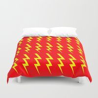 lightning Duvet Covers featuring Lightning Bolt by Silvio Ledbetter