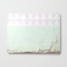 Triangles & Crackled Paint Metal Print