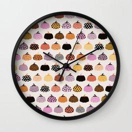 Halloween colorful indian summer pumpkin picking garden pink orange girls Wall Clock