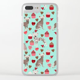 Chinese Crested valentines day cupcakes hearts gifts for unique dog breed owners love Clear iPhone Case