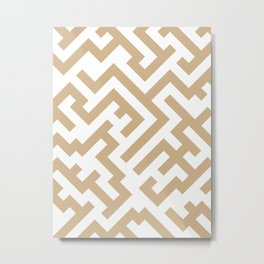 White and Tan Brown Diagonal Labyrinth Metal Print