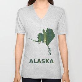 Alaska map outline Deep moss green watercolor Unisex V-Neck