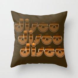 Metallic Seventies Disco Emblem Throw Pillow