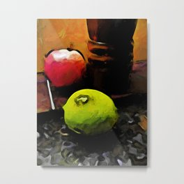 Still Life with a Green Lime and a Red Apple Metal Print