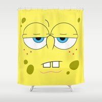 spongebob Shower Curtains featuring SpongeBob by Thorin