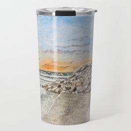 Beach sunset art print Travel Mug