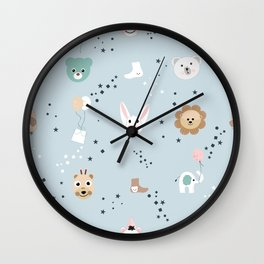 Seamless kids pattern with lion, owl and cute animals Wall Clock